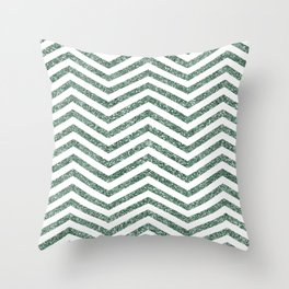 Green Glitter Chevron Throw Pillow