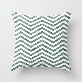 Green Glitter Chevron Throw Pillow