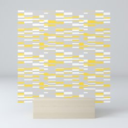 Mosaic Rectangles in Yellow Gray White #design #society6 #artprints Mini Art Print