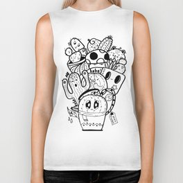 Cactus Love Easy Doodle funny faces Biker Tank