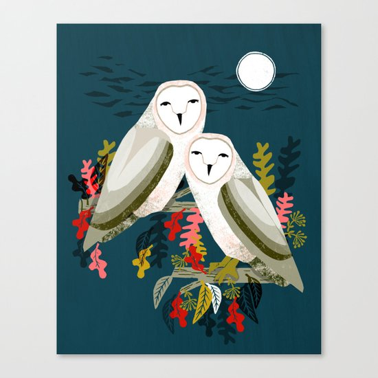 Two Owls by Andrea Lauren Canvas Print