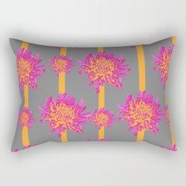 FUCHSIA-ORANGE  CHRYSANTHEMUMS GREY PATTERN Rectangular Pillow