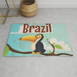 Vintage fly to Brazil Toucan Travel Poster Rug