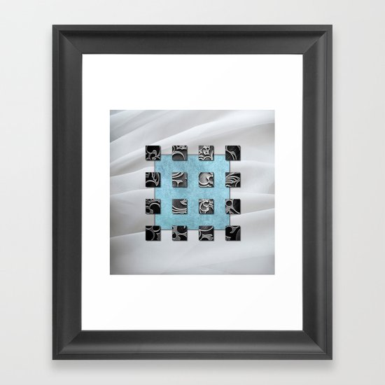 SQUARE AMBIENCE - white satin mixed-media collage Framed Art Print