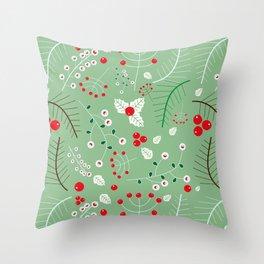 Mistletoe green Throw Pillow