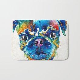 Colorful Pug Art - Smug Pug - By Sharon Cummings Bath Mat