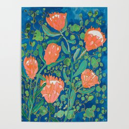 Coral Proteas on Blue Pattern Painting Poster