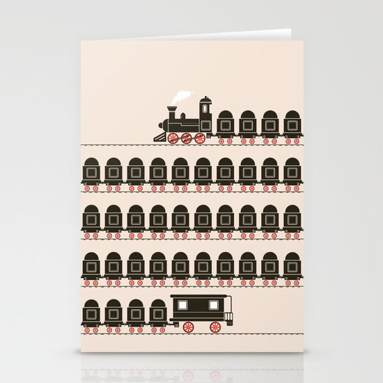 Stretched Out Locomotive  Stationery Cards
