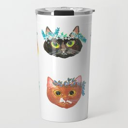 Cats with Flowers Crowns Travel Mug