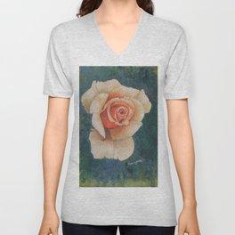 White Rose - in watercolor Unisex V-Neck