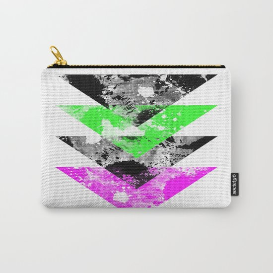 Descent - Geometric Abstract In Black, Green And Pink Carry-All Pouch