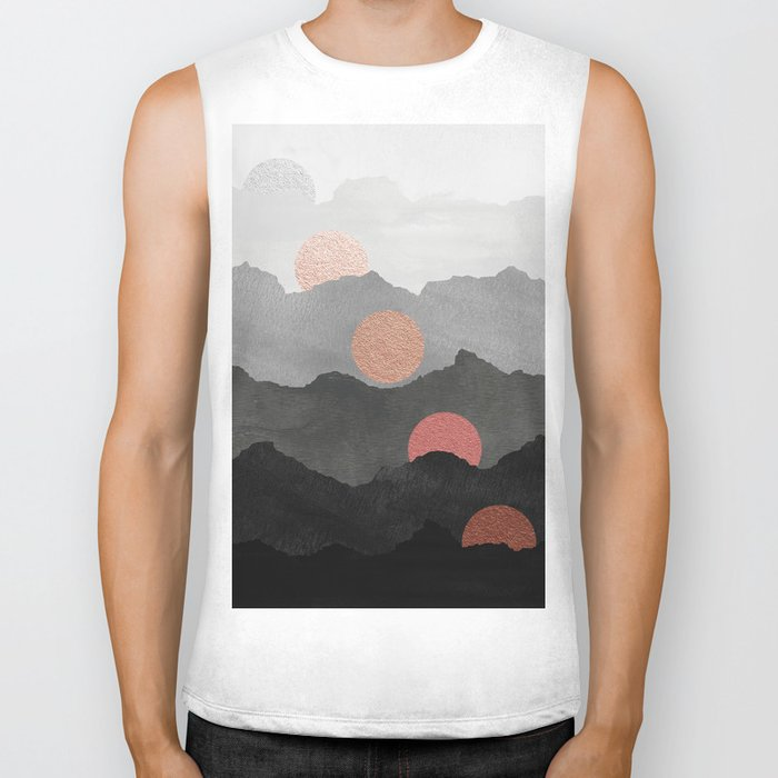 Abstract Mountains // Shades of Black and Grey Landscape Full Metallic Gold Moon Biker Tank