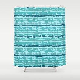 Krazy Strips - Bluegreen Shower Curtain