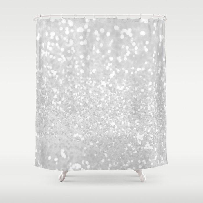 Chic Elegant Glamour White Faux Glitter Shower Curtain By Pink Water