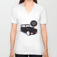 kit king V-neck T-shirts featuring Grandpa kit by pludadesign