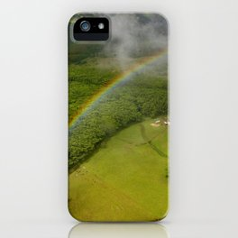 Hawaiian Rainbow Over Valley in Kauai: Aerial View iPhone Case