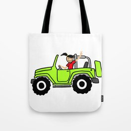 Jeep Wave Girl - Side View - Lime Green Tote Bag