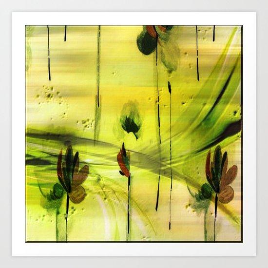 Dancing Flowers Abstract Art Print