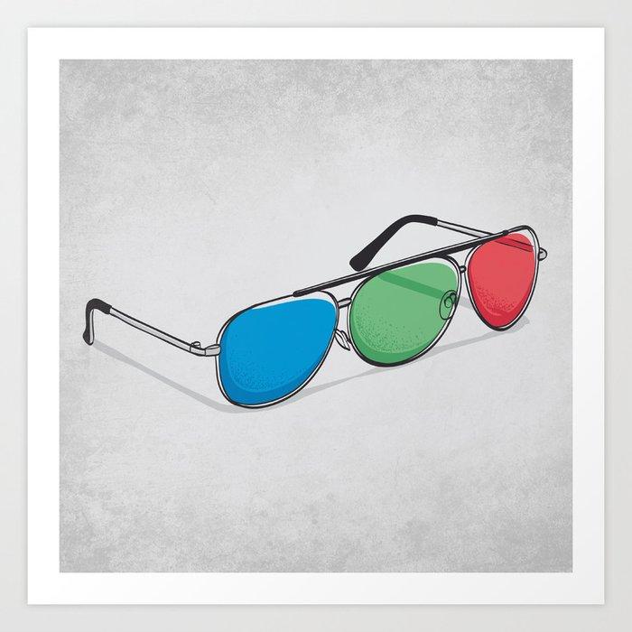 3D Glasses Art Print