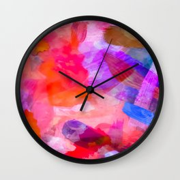 splash painting texture abstract background in purple pink red blue Wall Clock