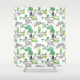 Happy Sloth Jungle Party Shower Curtain