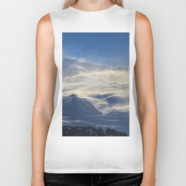 """Brave mountains"". Into the windy storm Biker Tank"