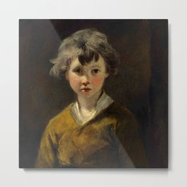"Sir Joshua Reynolds ""Edwin: Study of a young boy, half-length, in a brown coat"" Metal Print"