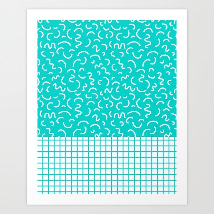 Hockney - Bright blue, memphis, 80s, 90s, swimming pool, summer turquoise design cell phone, phone  Art Print
