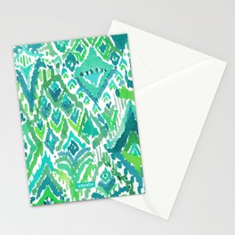 Spring TEMPLE TRIBAL Green Ikat Stationery Cards