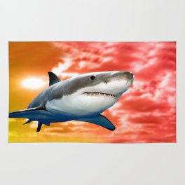 Shark flying in red sky Rug