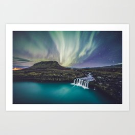 Northern Lights at Thjofafoss (Iceland) Art Print