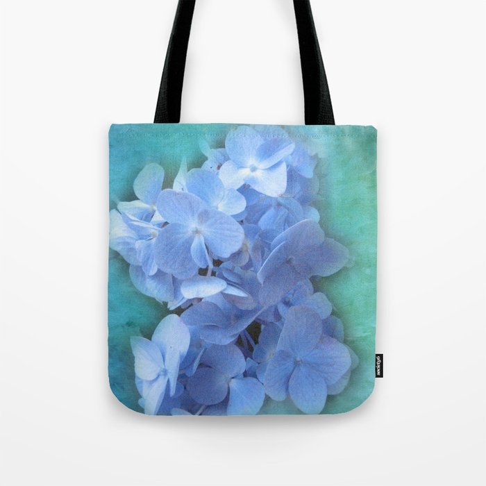 Blue Hydrangea on Green Tote Bag