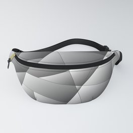 Exclusive light monochrome pattern of chaotic black and white geometric shapes. Fanny Pack