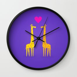 Cute cartoon giraffe couple in Love (Purple Edition) Wall Clock