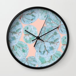Tropical Sea Grape Leaves Wall Clock