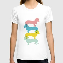 Four dachshund wall art print T-shirt