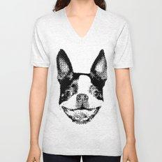 Huge boston terrier head Unisex V-Neck