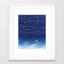 night sky, ocean painting Framed Art Print