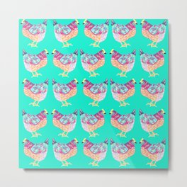 Colorful Chickens With Aqua Background Metal Print