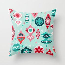 Christmas Ornaments – Mint Palette Throw Pillow