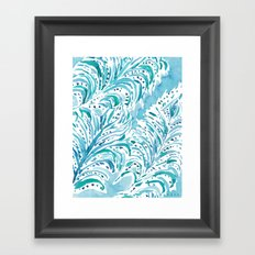 FEATHER FLOW Aqua Watercolor Framed Art Print