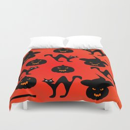 Halloween with cats and pumpkins Duvet Cover