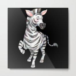 Watercolor Zebra gift for zebra fans Metal Print