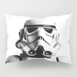 Stormtrooper Hand Drawn Dotwork - StarWars Pointillism Artwork Pillow Sham