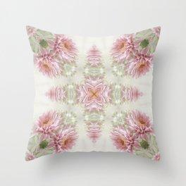 Pink Chrysanthemums Kaleidoscope Art 1 Throw Pillow