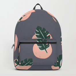 Leafy pattern on grey Backpack