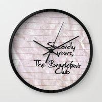breakfast club Wall Clocks featuring The Breakfast Club by holly gordon