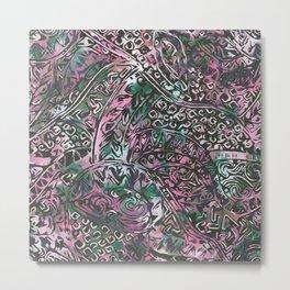 Hawaiian Pink and Green Ancient Pattern Metal Print