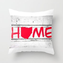 Ohio State Home Pride Wood Print Throw Pillow