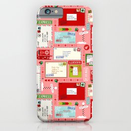 Kids Letters to Santa l Christmas Pattern - Pink iPhone Case